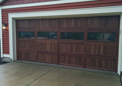 Glass Woodgrain Red Siding CHI Garage Door